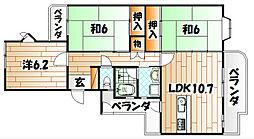 久岐の浜シーサイド4棟[5階]の間取り