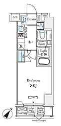 JR総武本線 馬喰町駅 徒歩4分の賃貸マンション 7階1Kの間取り