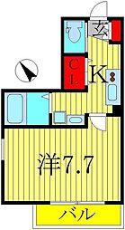 千葉県柏市東上町の賃貸アパートの間取り