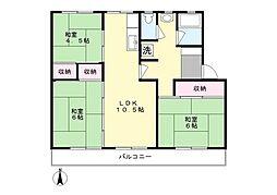 西三田団地6街区3号棟[506号室]の間取り