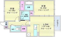 JR東北本線 南仙台駅 徒歩29分の賃貸アパート 1階2LDKの間取り