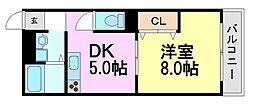 兵庫県尼崎市南竹谷町1丁目の賃貸アパートの間取り