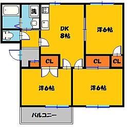 ロワールソレイユ 3番館[102号室]の間取り