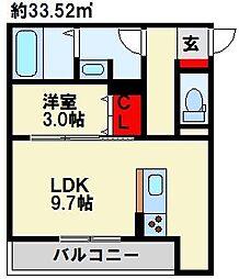 グランルージュ桜 2階1LDKの間取り