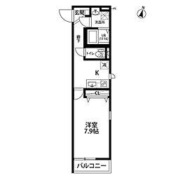 wisteria[107号室]の間取り