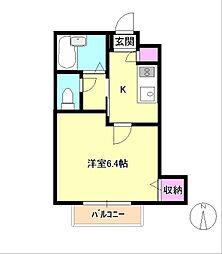 東京都八王子市大横町の賃貸アパートの間取り