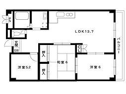 阪急神戸線 岡本駅 4階建[302号室]の間取り