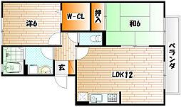 グランドソレーユS[1階]の間取り