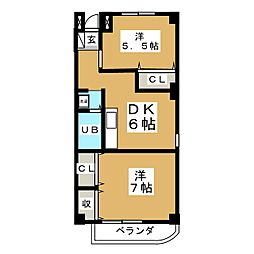 仙台坂アルカディア 8階2DKの間取り