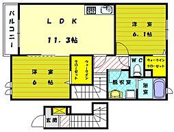 福岡県古賀市舞の里1丁目の賃貸アパートの間取り
