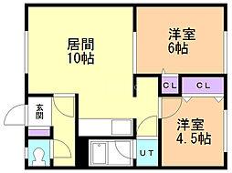 山田マンション 1階2LDKの間取り