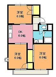 埼玉県鴻巣市小松2丁目の賃貸アパートの間取り