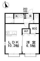 バス 岡電バス泉田口下車 徒歩2分の賃貸アパート 1階1LDKの間取り