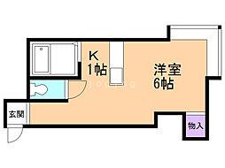 AMS栄通 1階1Kの間取り