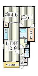 千葉県柏市藤心4丁目の賃貸アパートの間取り