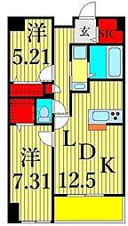 JR常磐線 三河島駅 徒歩4分の賃貸マンション 12階2LDKの間取り
