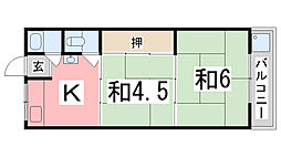 兵庫県姫路市野里堀留町の賃貸アパートの間取り