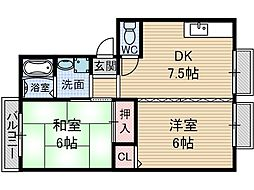 サンハイツ千原2[2階]の間取り