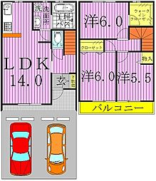 [テラスハウス] 千葉県流山市宮園3丁目 の賃貸【/】の間取り
