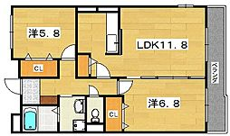 グランジュテ 2階2LDKの間取り