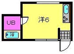 東田ビル 4階ワンルームの間取り