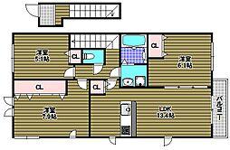 大阪府和泉市山荘町の賃貸アパートの間取り