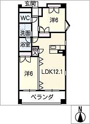 ベンベヌート下稲[2階]の間取り