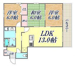 柳本北館 3階3LDKの間取り