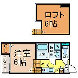 愛知県名古屋市中村区角割町1丁目の賃貸アパートの間取り