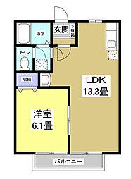 静岡県磐田市水堀の賃貸アパートの間取り