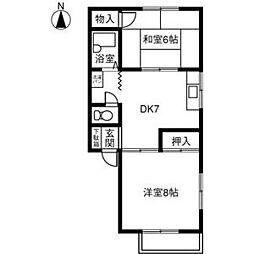 愛知県稲沢市小沢3丁目の賃貸アパートの間取り