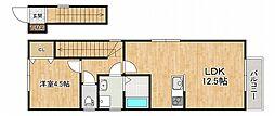 阪神本線 住吉駅 徒歩3分の賃貸アパート 2階1LDKの間取り
