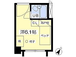 八木山スカイパンション 1階ワンルームの間取り