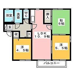 ディアスフローラB[2階]の間取り