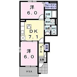 西鉄天神大牟田線 蒲池駅 4.8kmの賃貸アパート 1階2DKの間取り
