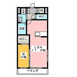 静岡県浜松市浜北区道本の賃貸マンションの間取り