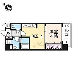 叡山電鉄叡山本線 一乗寺駅 徒歩5分の賃貸マンション 4階1DKの間取り