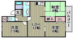 シャイニーSHIBATA2[205号室]の間取り