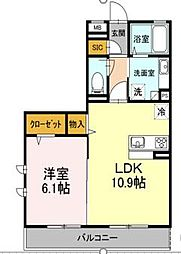 東京都大田区南雪谷5丁目の賃貸アパートの間取り