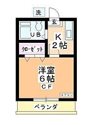 松本コーポ[102号室]の間取り
