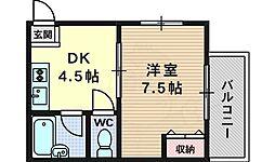 クレアトール21 1階1DKの間取り
