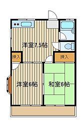 第二コーポレークサイド[2階]の間取り