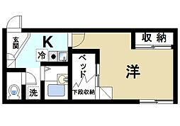 近鉄奈良線 近鉄奈良駅 バス6分 高畑町下車 徒歩5分の賃貸アパート 2階1Kの間取り