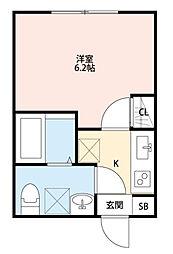 東京都練馬区石神井町8丁目の賃貸アパートの間取り