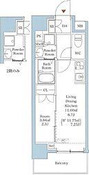 JR山手線 西日暮里駅 徒歩7分の賃貸マンション 9階1DKの間取り