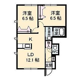 リビーブコート飯田B[1階]の間取り