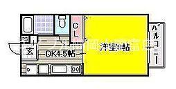 岡山県岡山市中区浜3の賃貸アパートの間取り