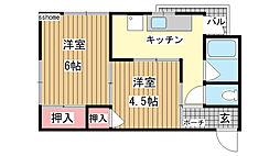 マンション中郷[2号室]の間取り