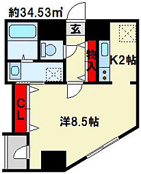 福岡県北九州市小倉北区魚町4丁目の賃貸マンションの間取り
