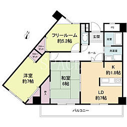 南海高野線 北野田駅 徒歩8分の賃貸マンション 2階2SLDKの間取り